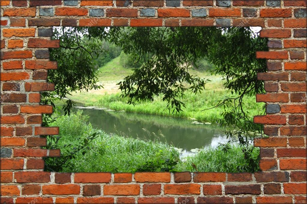 hole in the brick wall and view to summer river