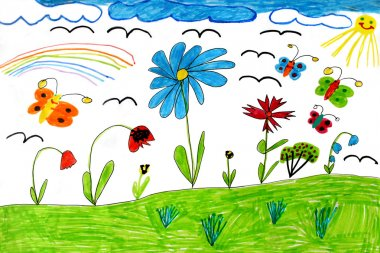 Children's drawing with rainbow butterflies and flowers