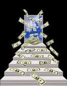 Dollar fliegen raus aus der Tür mit blauem Himmel