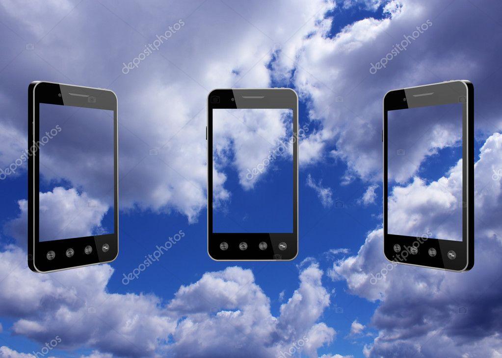 smart-phones transparent on blue sky background