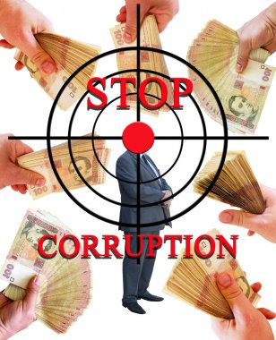 inscription stop corruption with target and hand with money