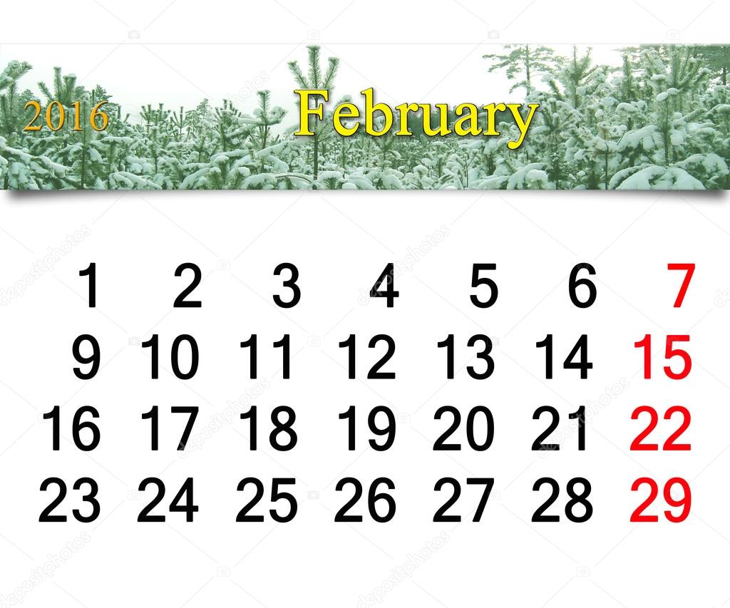 calendar for  February 2016 with winter landscape