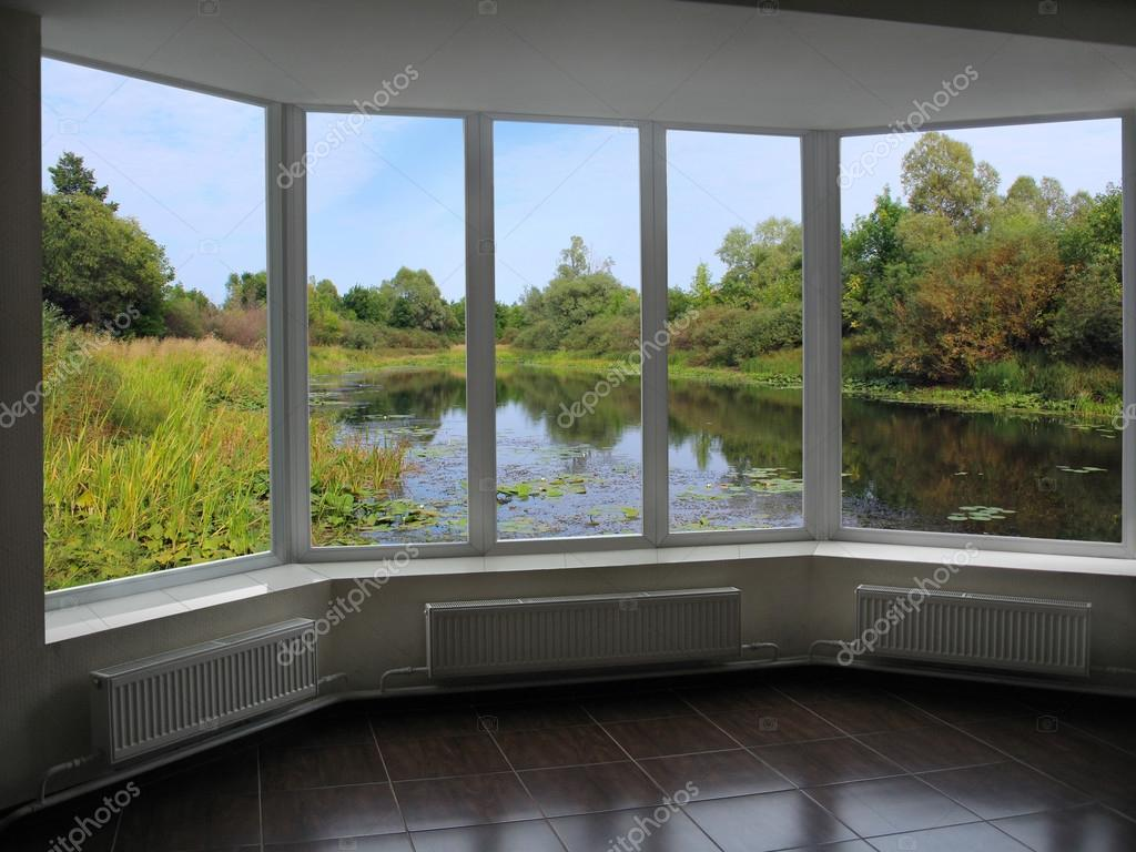 window overlooking the summer pond