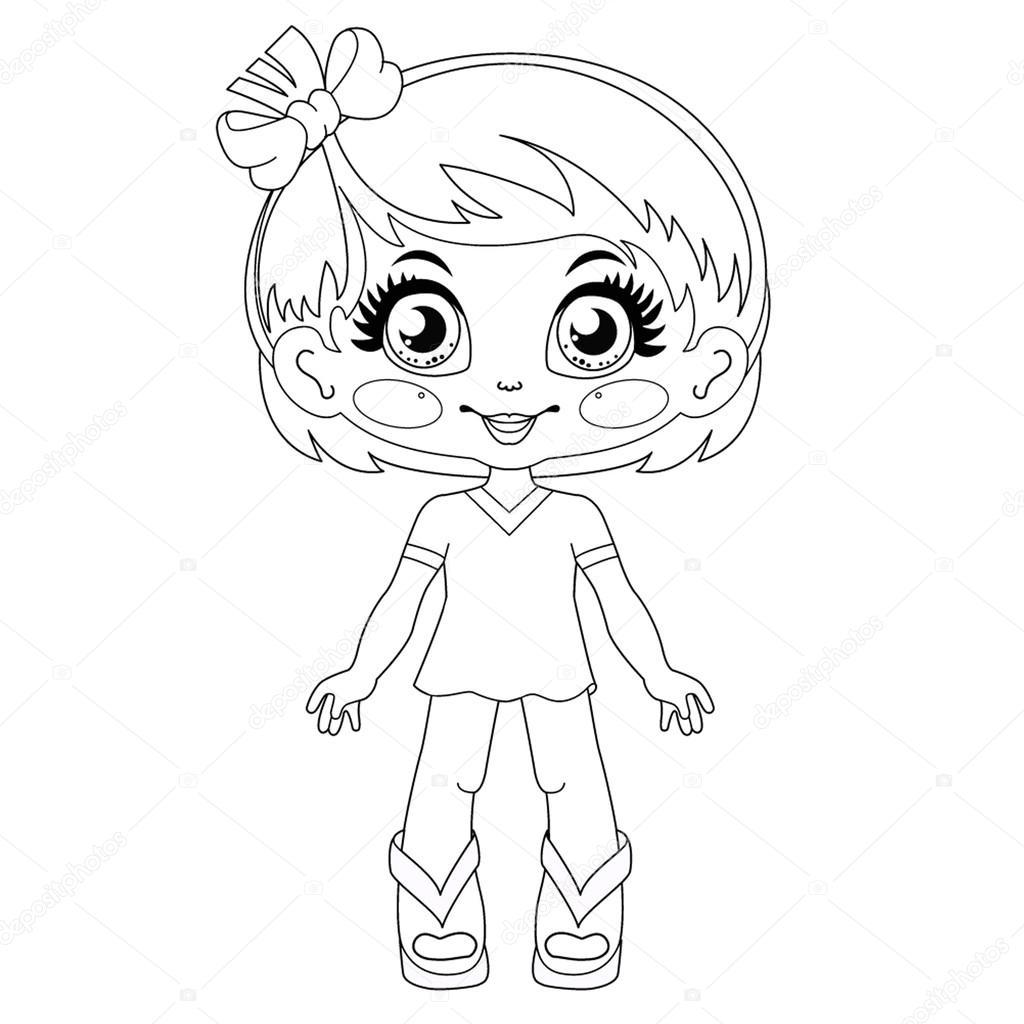 Contour Kawaii Doll Vector Coloring Page Stock Vector