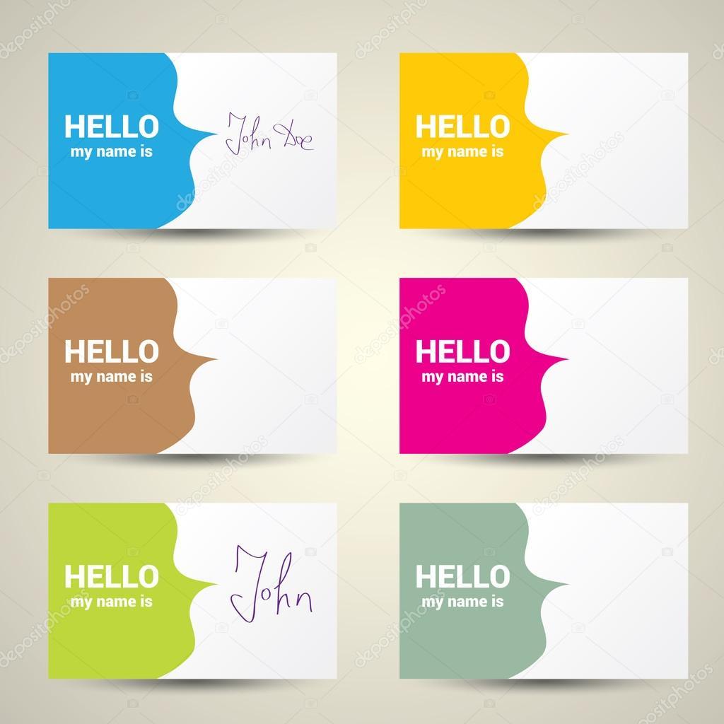 bdc01099f Olá meu nome é... Conjunto de nome de marca — Vetores de Stock ...