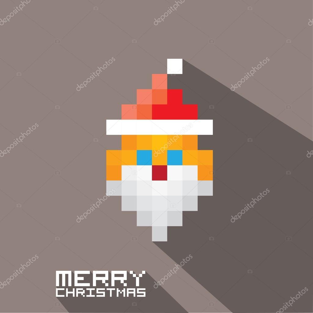 Vector Art Pixel Joyeux Noël Père Noël Image Vectorielle