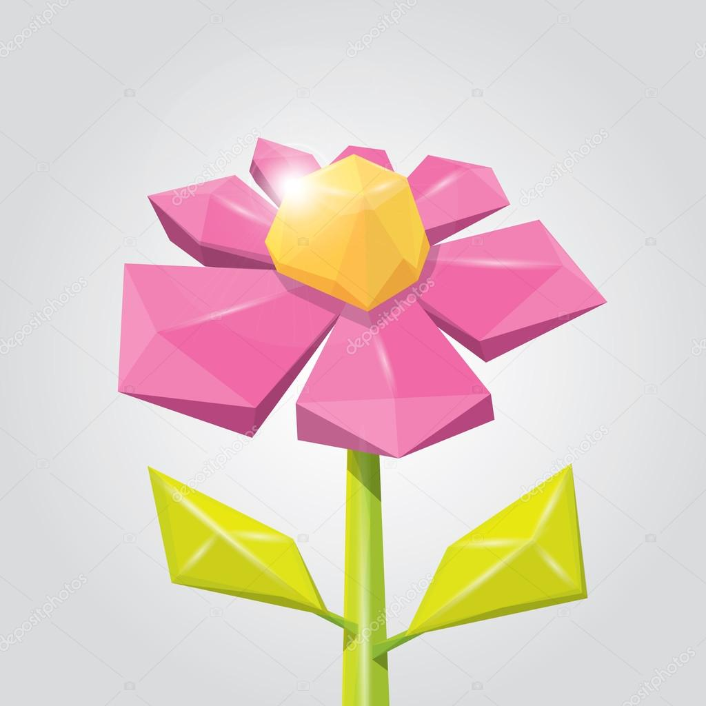 Conceptual polygonal color spring flower.