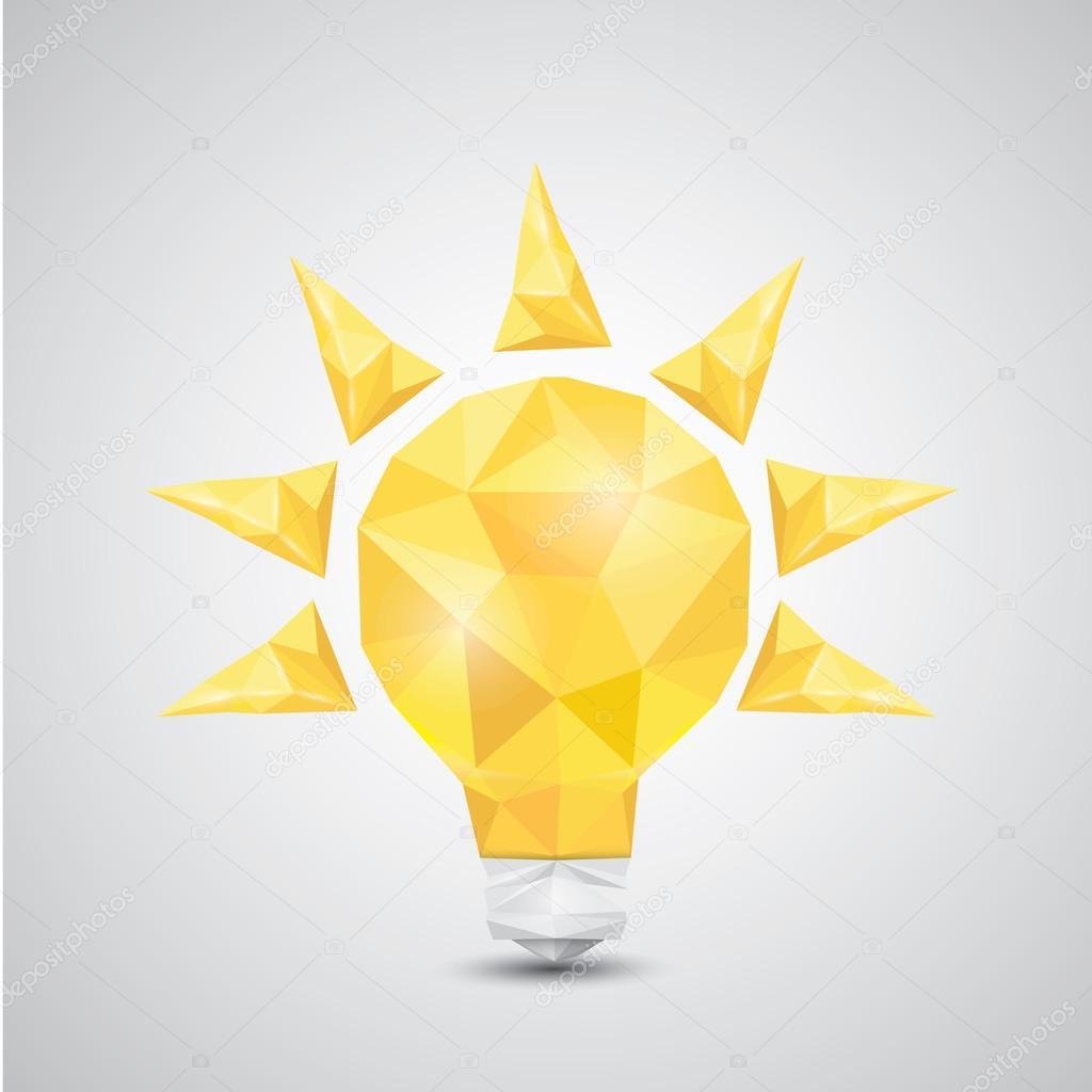 Style de basse poly icône ampoule vecteur  — Image vectorielle