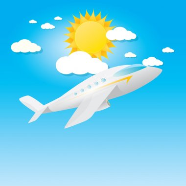 Airplane in blue sky with sun and clouds. Summer travel by airplane concept illustration. stock vector