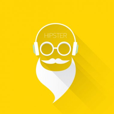 Hipster man icon. Fashion silhouette hipster style, vector illustration clip art vector
