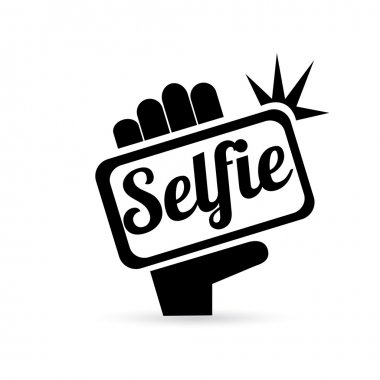 Taking Selfie Photo on Smart Phone concept icon set. vector illustration stock vector