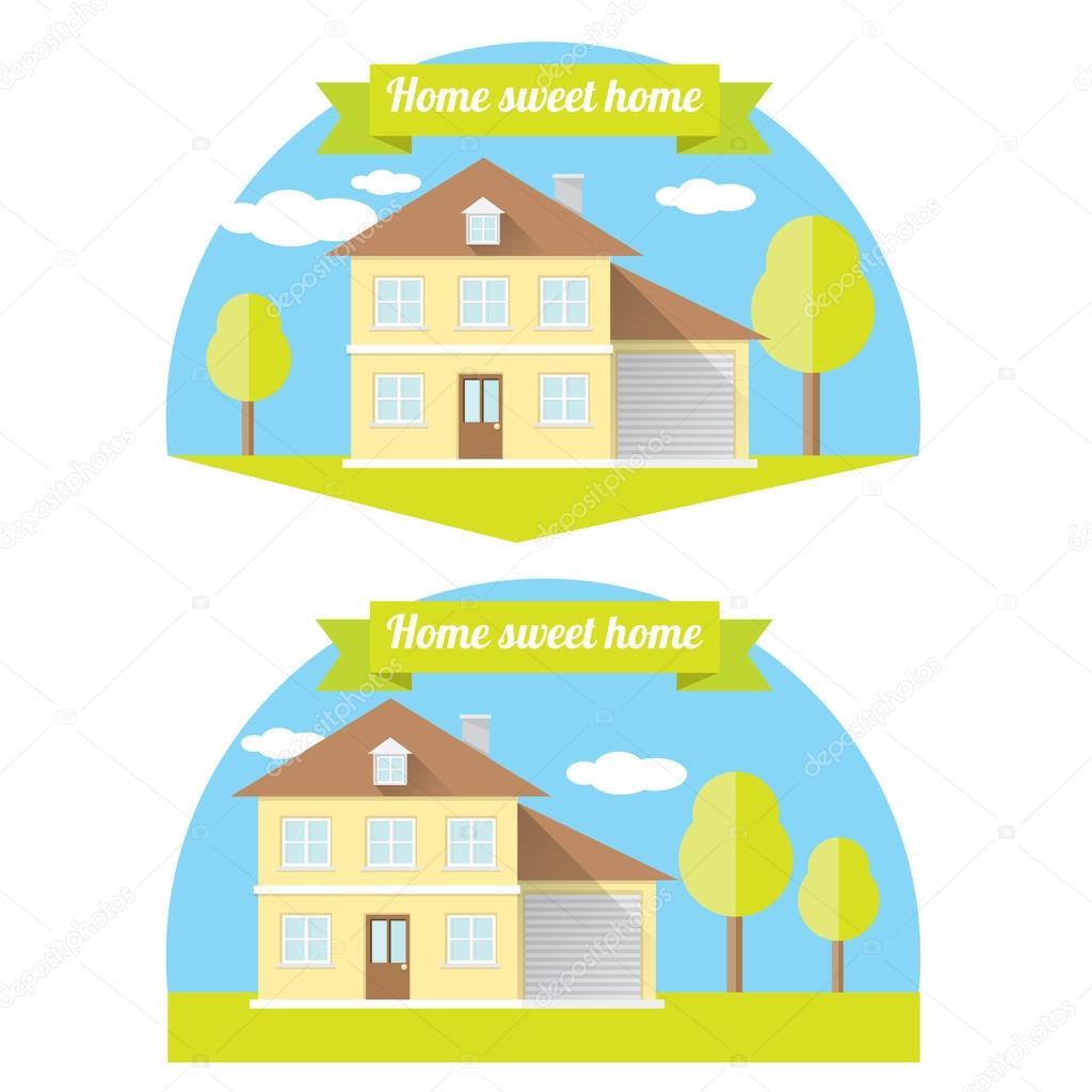 Vector ilustración de la casa. hogar dulce hogar — Archivo Imágenes ...
