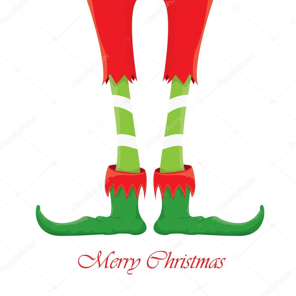 christmas cartoon elfs legs on white background