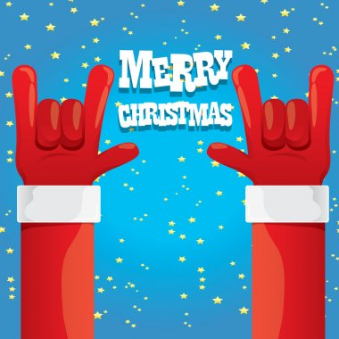 Santa Claus hand rock n roll vector illustration.