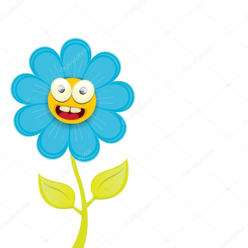 Vector Spring Cartoon Flowers Isolated On White Stock Vector