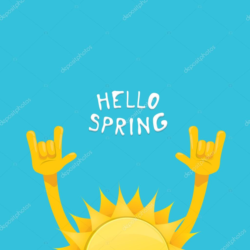 sun hand rock n roll icon vector . Spring