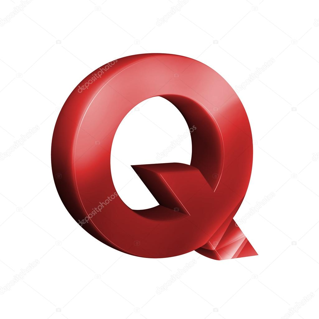 Beautiful red 3d font. Letter Q.  Stock Photo #84022366