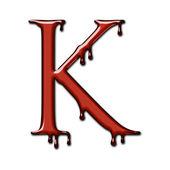 Kape krev písmo abeceda izolované na bílém. Písmeno K