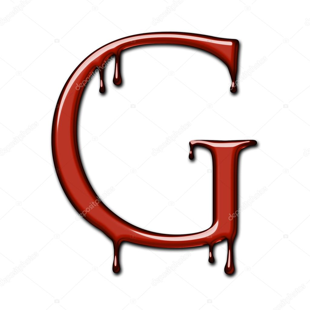 A dripping blood font alphabet isolated on white. Letter G.
