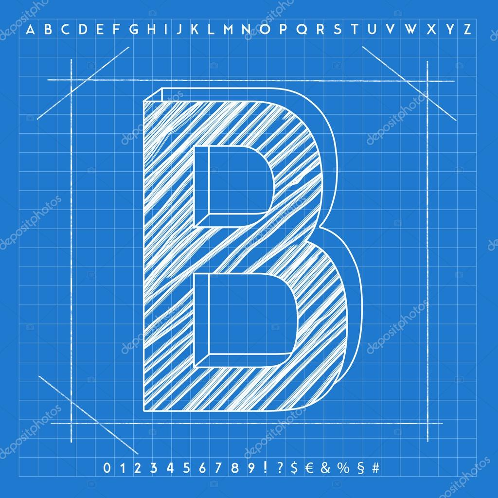 3d blueprint font stock photo froemic 92022276 3d blueprint font stock photo malvernweather Images