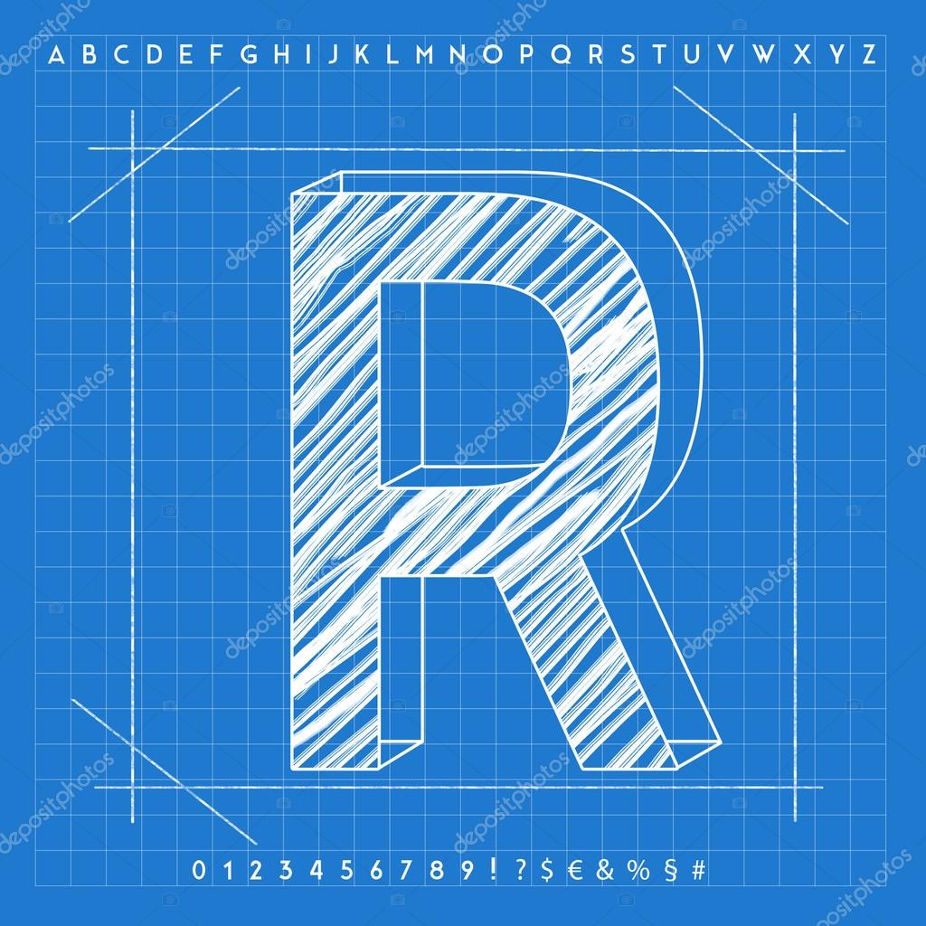 3d blueprint font stock photo froemic 92022504 3d blueprint font stock photo malvernweather Image collections