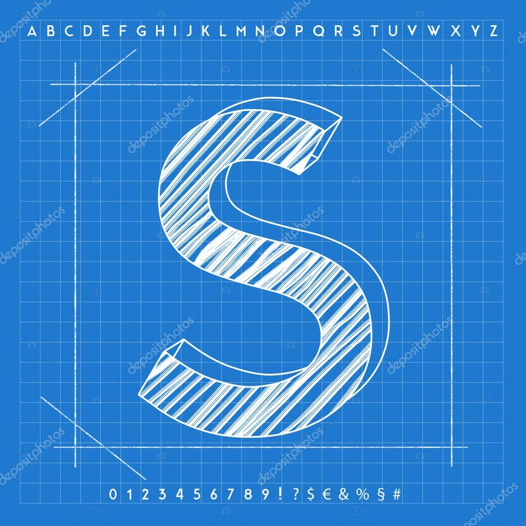 3d blueprint font stock photo froemic 92022508 3d blueprint font stock photo malvernweather Image collections