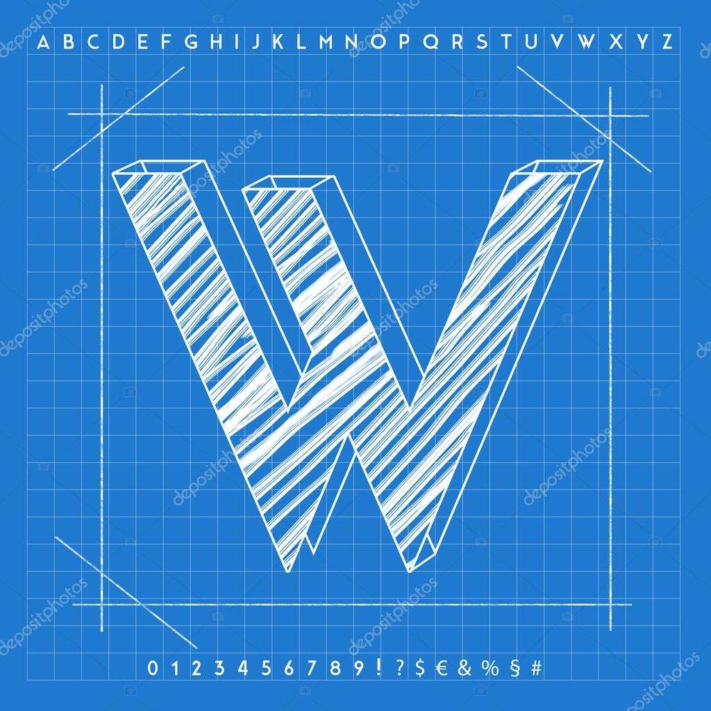 3d blueprint font stock photo froemic 92022548 3d blueprint font stock photo malvernweather Image collections