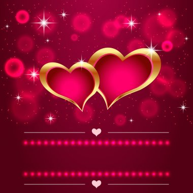 14 february Valentines Day Design with hearts and flares stock vector