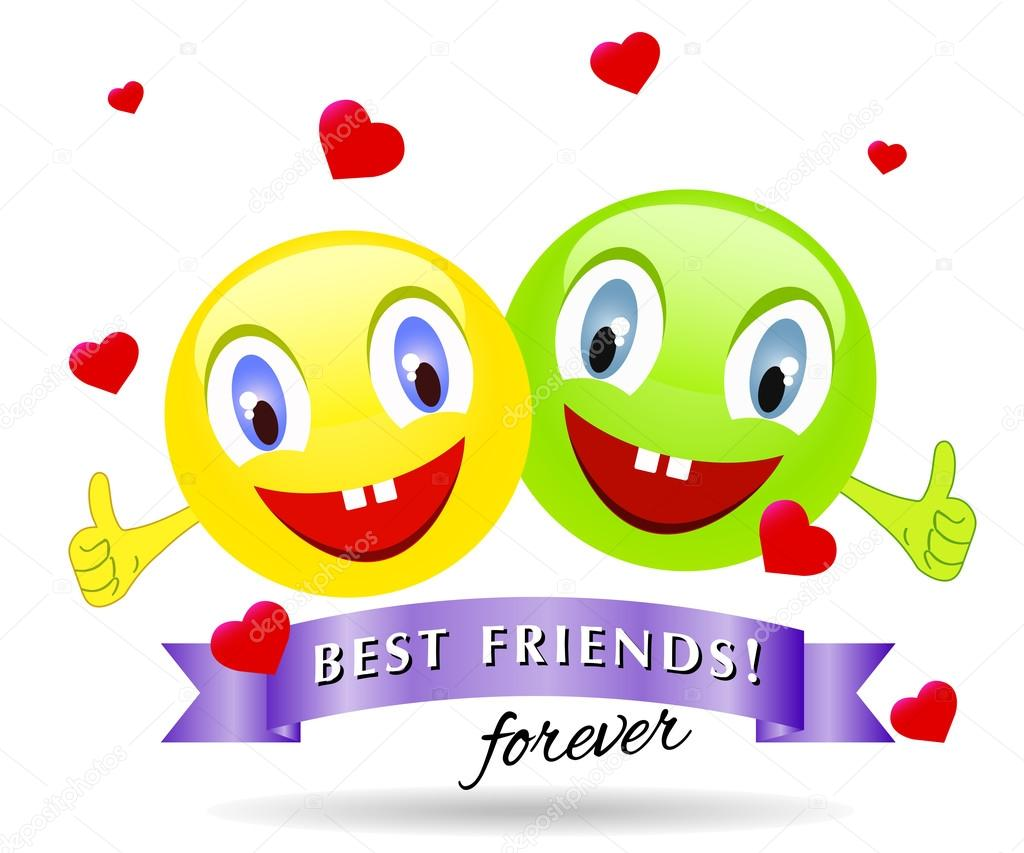Best Friends Smiling Faces Vector Design Concept Stock Vector