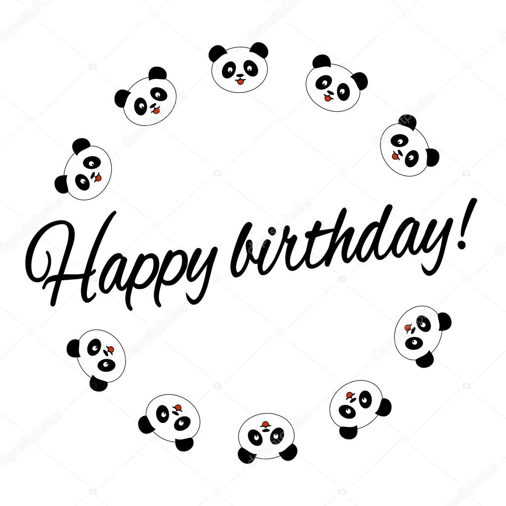 Cute panda birthday card stock vector stv73 120869220 cute panda arranged in circles and isolated on a white background birthday card vector illustration vector by stv73 bookmarktalkfo Image collections