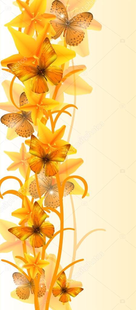Papillon et fleurs jaunes image vectorielle dyha1965 - Image papillon et fleur ...