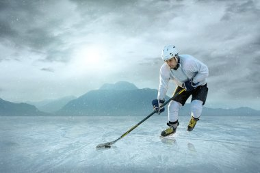 Ice hockey player on ice