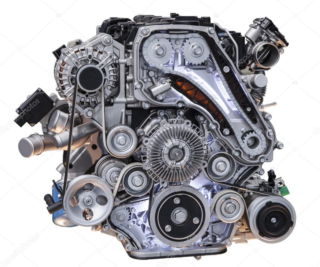 Chevy Diesel Blower: Motor De Caminhão Diesel Turbo Modernos Isolado No Fundo