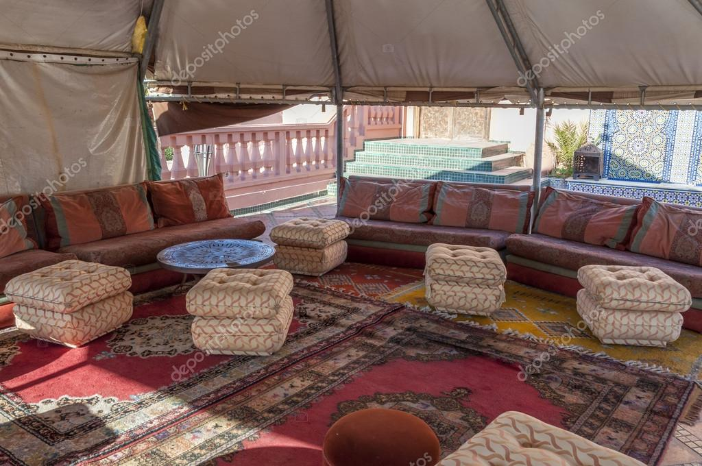 interior of a traditional berber tent in morocco stock photo