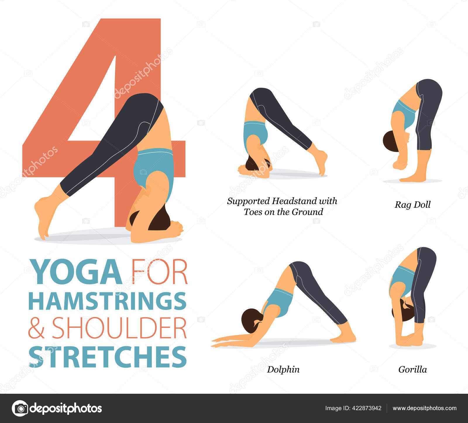 Infographic Yoga Poses Workout Concept Hamstrings Shoulder Flat ...