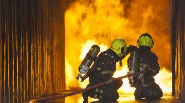Bir grup itfaiyeci ya da üniformalı itfaiyeci sıcak ateşe karşı yangın hortumu ve konteynırdaki tehlikeli dumana karşı acil bir kaza kurtarma operasyonu kullanıyor. - İnsanlar. Kahraman takım çalışması.