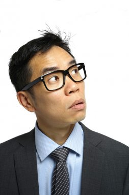 Asian salary man in isolated background with different expressio