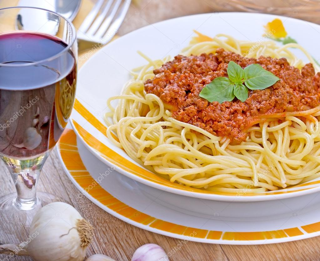 spaghetti rode wijn
