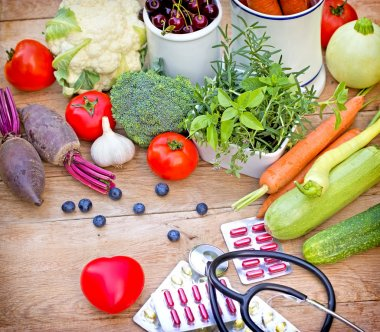 Concept of a healthy diet with supplements