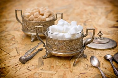Sugar in silver containers - antique bowls