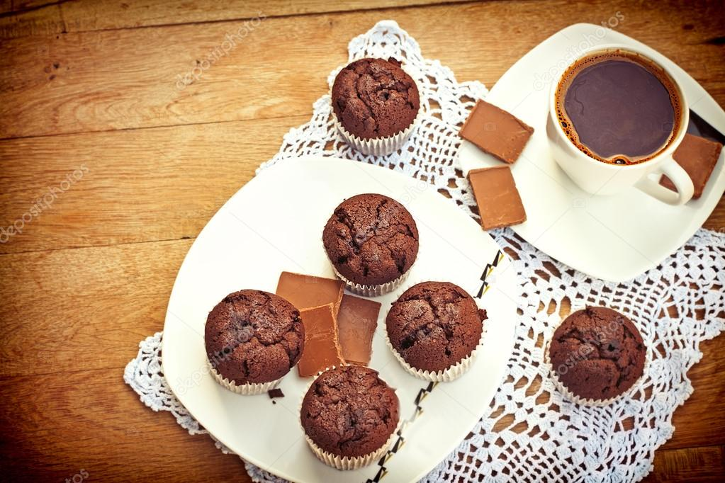 Enjoying the muffins and coffee