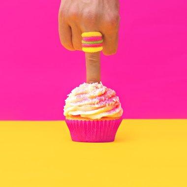 Finger pokes Vanilla Cake. Minimalism design