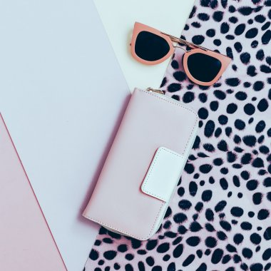 Ladies Fashion Accessories. Pink Clutch and sunglasses. Pastel c
