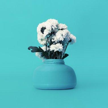 Bouquet Chrysanthemums in Blue interior. Art fashion design. Min
