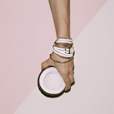 Glamorous Ladies Accessories. Watches and bracelets. Pastel colo