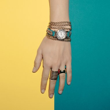 Trendy Jewelry Lady. Bracelets and watches. Bright Summer Access