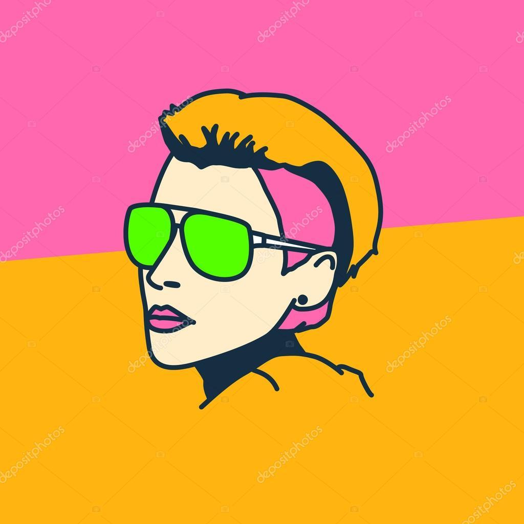 Blond Fryzury Krótkie Kwaśne Kolor W Stylu Disco Pop Art