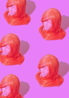 Dummy fashion girl with pink long wig hairs. Party shop, halloween, holiday concept.  Minimalist isometric wallpaper