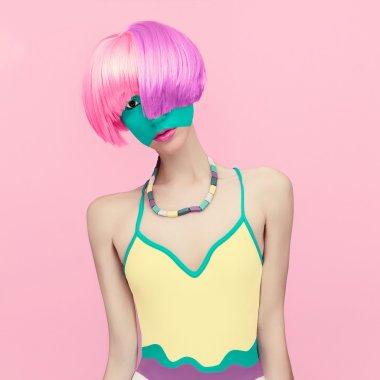 Exclusive photos. Girl fashion mix colors