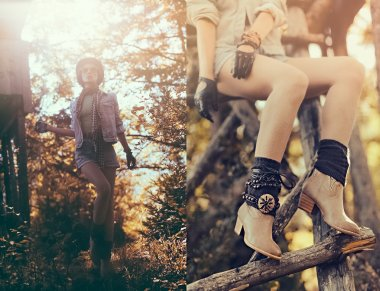 Fashion portrait model in the autumn forest. Country Style Acces